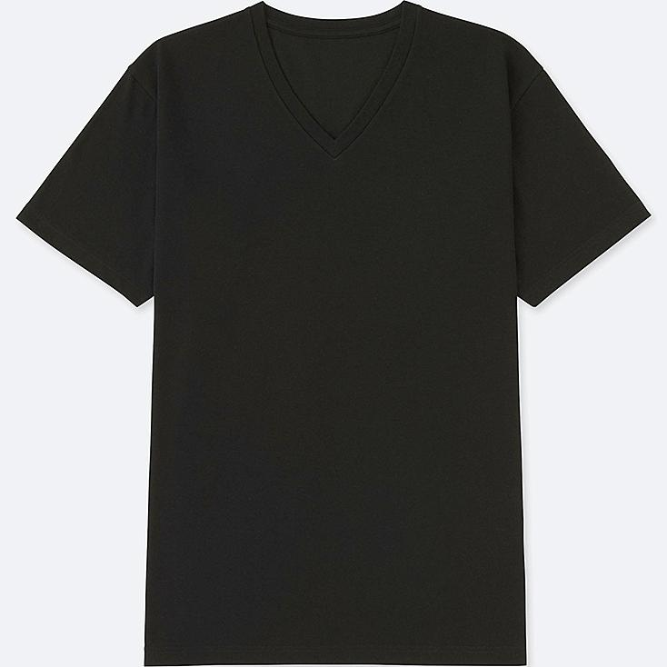 MEN PACKAGED DRY V-NECK SHORT-SLEEVE T-SHIRT, BLACK, large