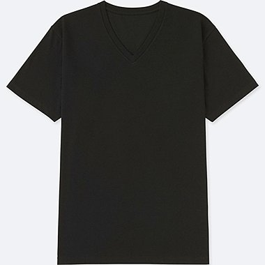 MEN PACKAGED DRY V-NECK SHORT-SLEEVE T-SHIRT, BLACK, medium