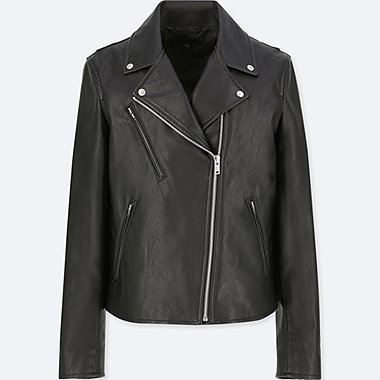 WOMEN SYNTHETIC LEATHER RIDERS JACKET, BLACK, medium