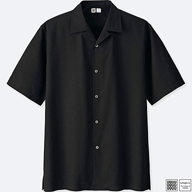 MEN U OPEN COLLAR SHORT-SLEEVE SHIRT, BLACK, medium