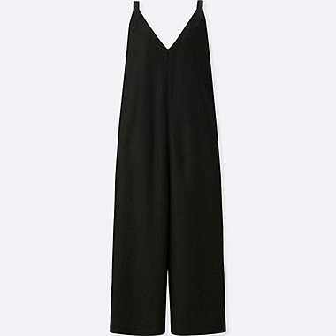 WOMEN LINEN RAYON SLEEVELESS JUMPSUIT, BLACK, medium