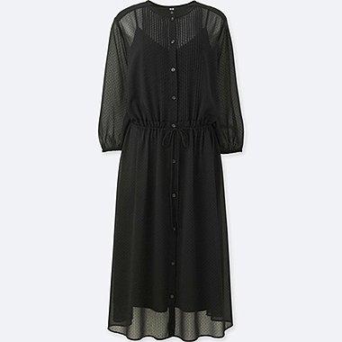 WOMEN SOFT WOVEN GATHER 3/4 SLEEVE DRESS