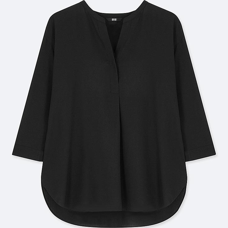 WOMEN RAYON SKIPPER COLLAR 3/4 SLEEVE BLOUSE, BLACK, large