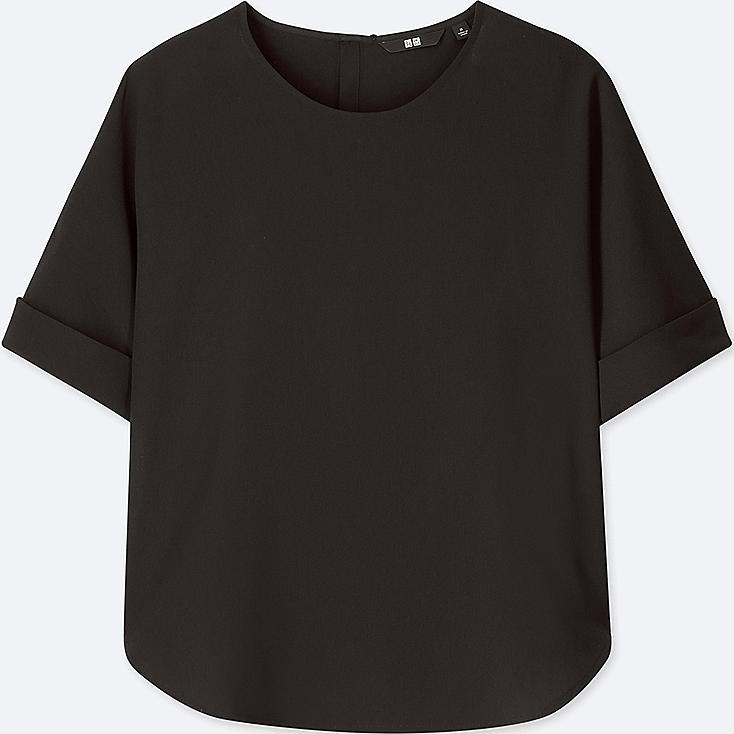 WOMEN DRAPE SHORT-SLEEVE T-SHIRT BLOUSE, BLACK, large