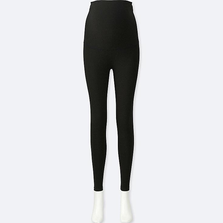 WOMEN MATERNITY LEGGINGS, BLACK, large