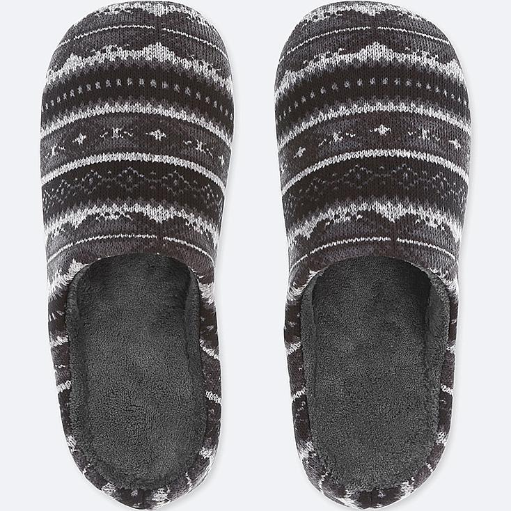 FLEECE SLIPPERS, BLACK, large