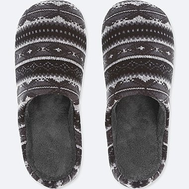 FLEECE SLIPPERS, BLACK, medium