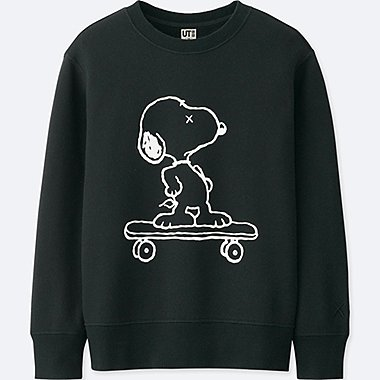 KIDS KAWS X PEANUTS PULLOVER SWEATSHIRT, BLACK, medium