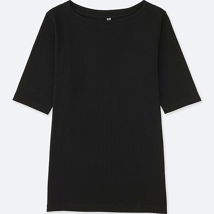 WOMEN RIBBED BOAT NECK HALF-SLEEVE T-SHIRT, BLACK, large