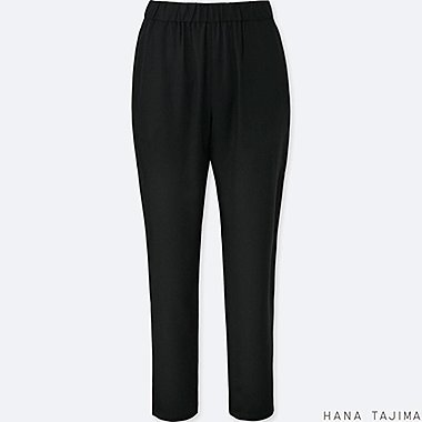 WOMEN TENCEL TAPERED RELAXED ANKLE-LENGTH PANTS, BLACK, medium