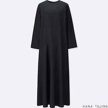 WOMEN TENCEL FLARE LONG-SLEEVE LONG DRESS, BLACK, medium