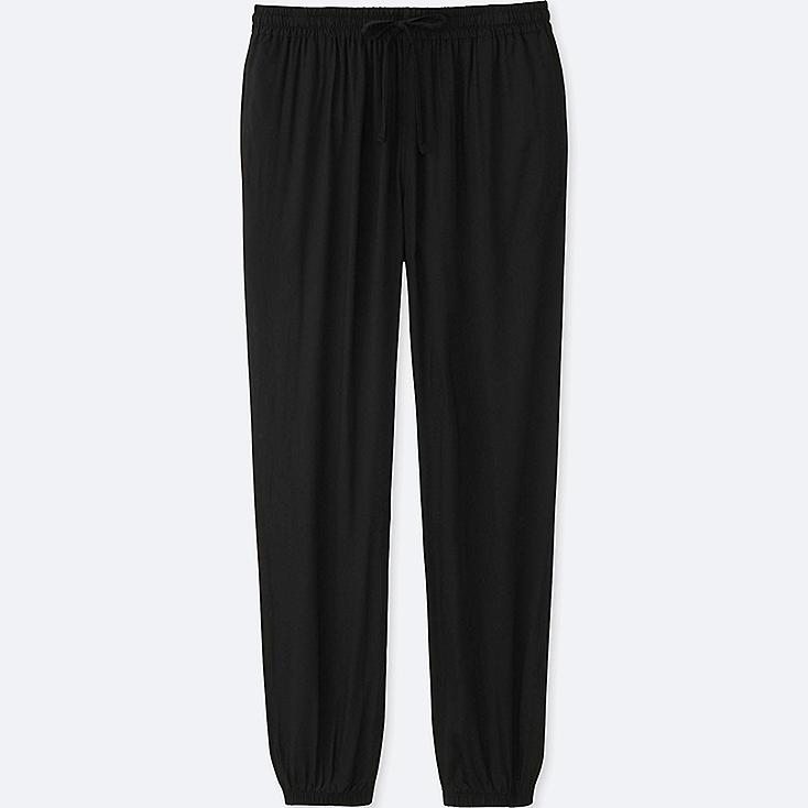 WOMEN DRAPE PANTS, BLACK, large
