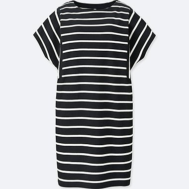 WOMEN COTTON STRIPED SHORT-SLEEVE DRESS, BLACK, medium