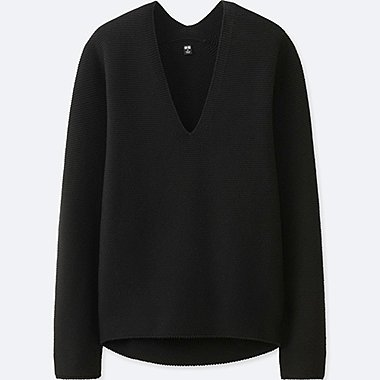 WOMEN COCOON SILHOUETTE V NECK SWEATER