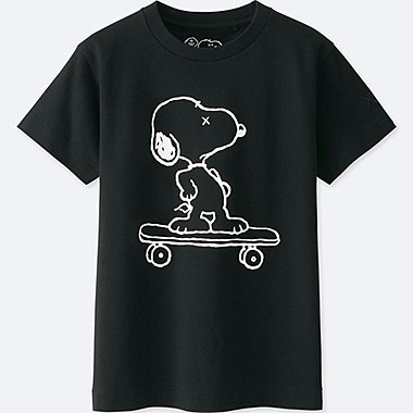 KIDS KAWS X PEANUTS SHORT-SLEEVE GRAPHIC T-SHIRT, BLACK, medium
