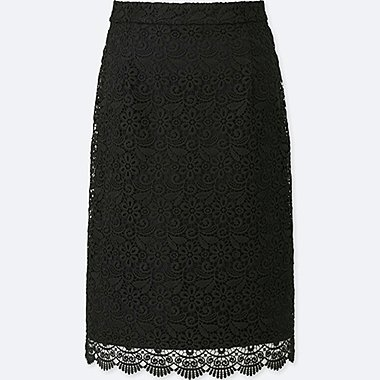 WOMEN LACE SKIRT, BLACK, medium