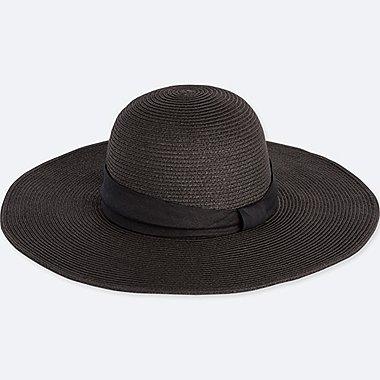 WOMEN PAPER WIDE BRIM HAT, BLACK, medium