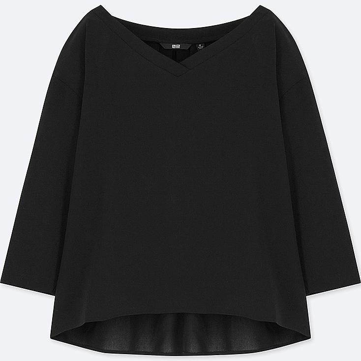 WOMEN DRAPE 3/4 SLEEVE BLOUSE, BLACK, large