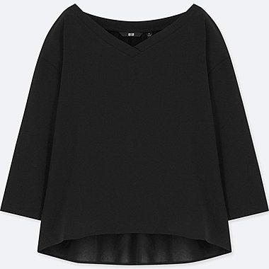 WOMEN DRAPE 3/4 SLEEVE BLOUSE, BLACK, medium