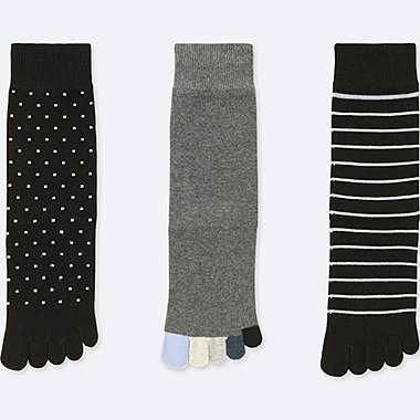 WOMEN FINGER SOCKS (3 PAIRS), BLACK, medium