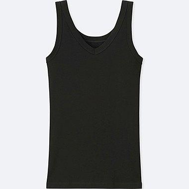 WOMEN SUPIMA® COTTON RIBBED TANK TOP, BLACK, medium