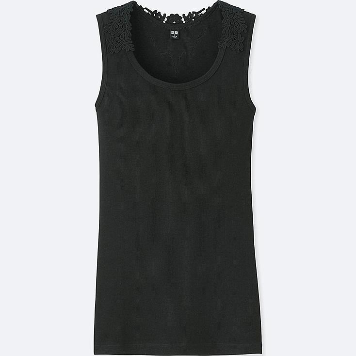 WOMEN LACE-BACK TANK TOP, BLACK, large