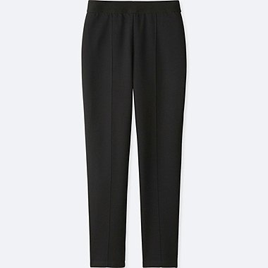 WOMEN PONTE SLIM PANTS, BLACK, medium