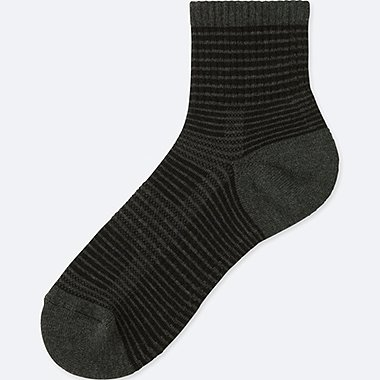 MEN PILE STRIPED HALF SOCKS, BLACK, medium