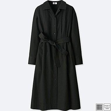 WOMEN U COTTON TWILL LONG-SLEEVE SHIRT DRESS, BLACK, medium