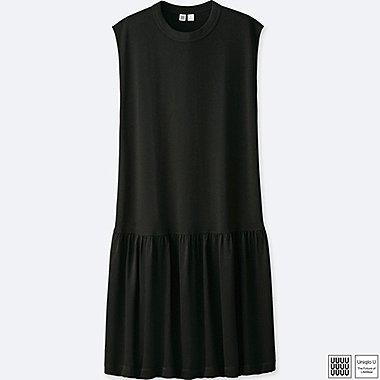 WOMEN U SLEEVELESS GATHERED DRESS, BLACK, medium