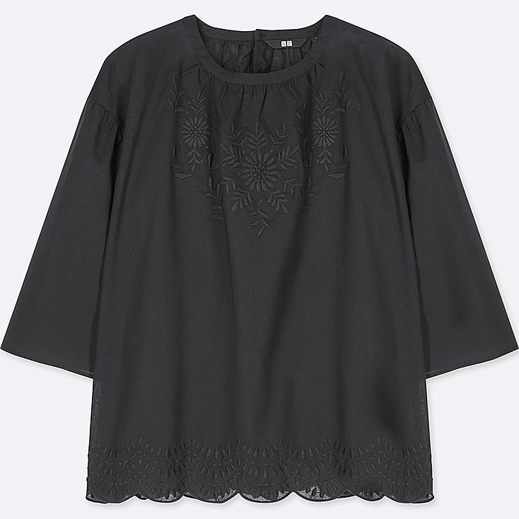 Women Cotton Embroidered 3/4 Sleeve Blouse by Uniqlo