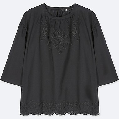 WOMEN 100% COTTON EMBROIDERY 3/4 SLEEVE BLOUSE