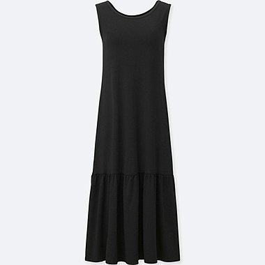 WOMEN FLARE SLEEVELESS BRA DRESS, BLACK, medium