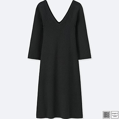 WOMEN UNIQLO U COTTON CASHMERE V NECK LONG SLEEVE DRESS
