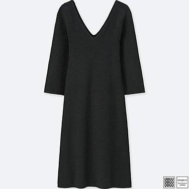 Damen U Kaschmir-Baumwolle-Mix Kleid (V-Ausschnitt)
