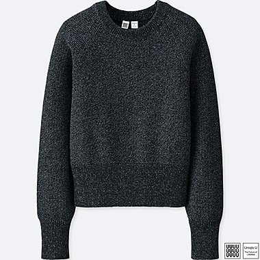 WOMEN UNIQLO U 100% COTTON CREW NECK CROPPED SWEATER