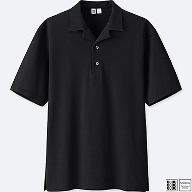 MEN U SUPIMA® COTTON OPEN COLLAR POLO SHIRT, BLACK, medium