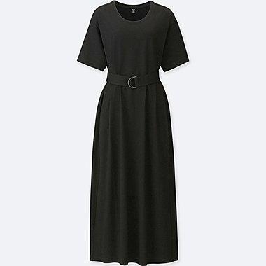 WOMEN BELTED SHORT-SLEEVE T-SHIRT DRESS, BLACK, medium