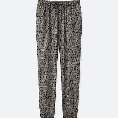 WOMEN DRAPE TILE-PRINT PANTS, BLACK, medium