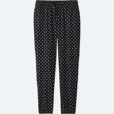 WOMEN DRAPE DOT-PRINT PANTS, BLACK, medium