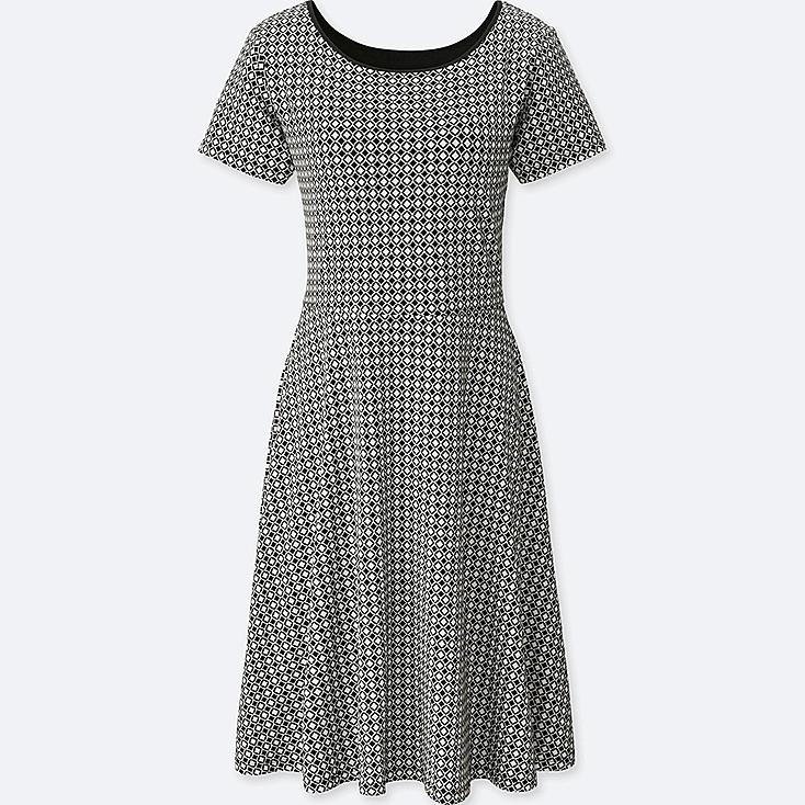 WOMEN GEOMETRIC-PRINT SHORT-SLEEVE BRA DRESS, BLACK, large