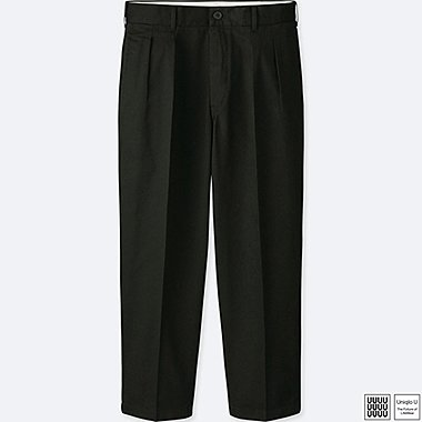 MEN U WIDE-FIT PLEATED PANTS, BLACK, medium