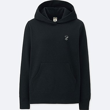 WOMEN KAWS X PEANUTS LONG-SLEEVE HOODED SWEATSHIRT, BLACK, medium