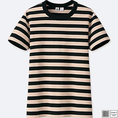 Damen U 100% Baumwoll gestreiftes T-Shirt