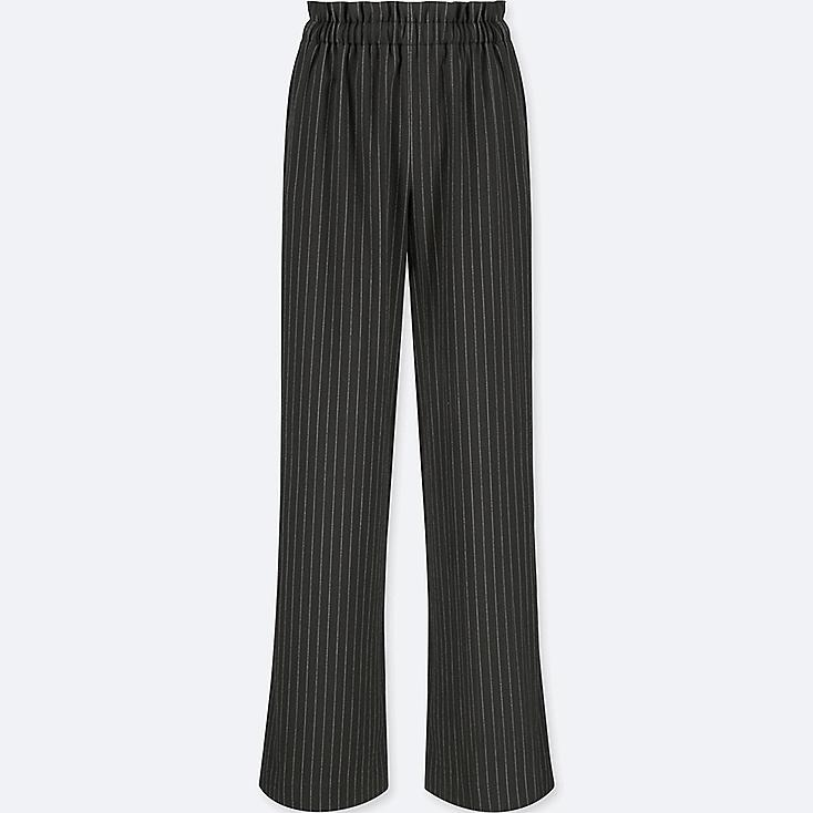 WOMEN HIGH-WAIST GATHERED STRIPE WIDE-LEG PANTS, BLACK, large