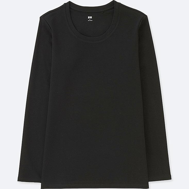 WOMEN COMPACT COTTON CREWNECK LONG-SLEEVE T-SHIRT, BLACK, large