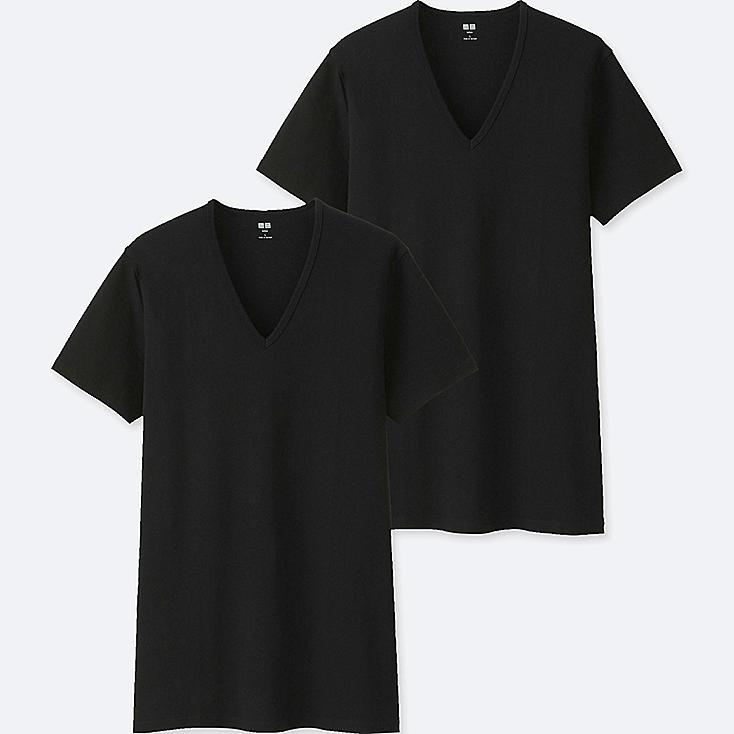 MEN SUPIMA® COTTON V-NECK SHORT-SLEEVE T-SHIRT (SET OF 2), BLACK, large
