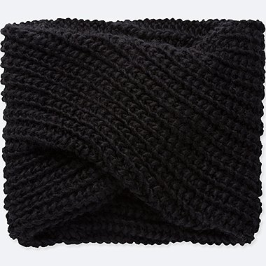 KNIT LOOP SCARF, BLACK, medium