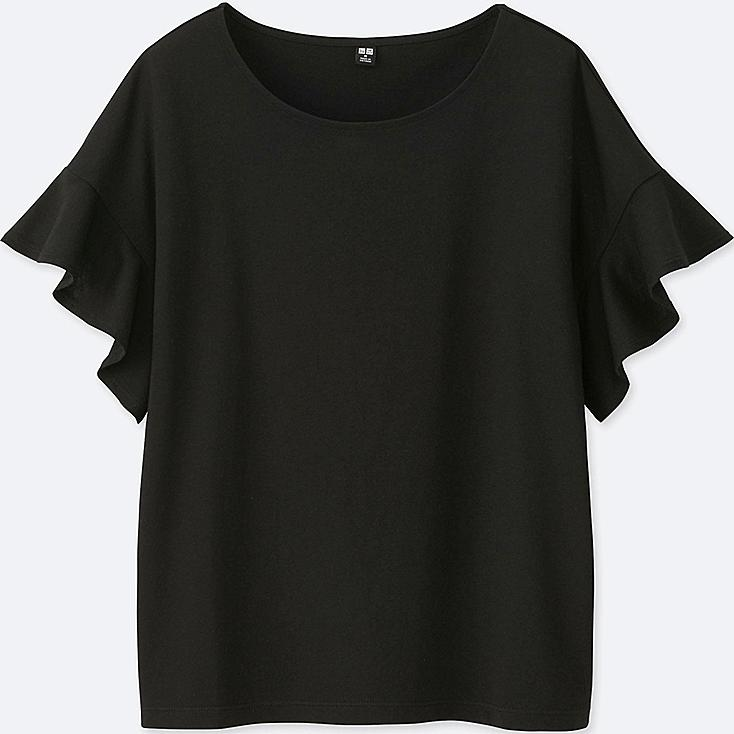 Women Square Frill Sleeve Design Short Sleeve T Shirt by Uniqlo