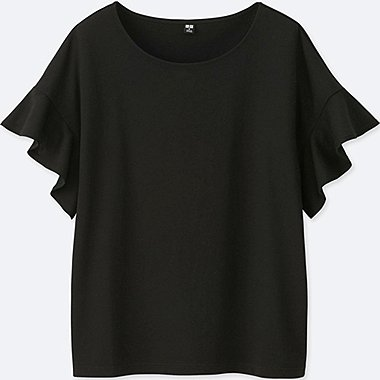 WOMEN SQUARE FRILL SLEEVE DESIGN SHORT-SLEEVE T-SHIRT, BLACK, medium
